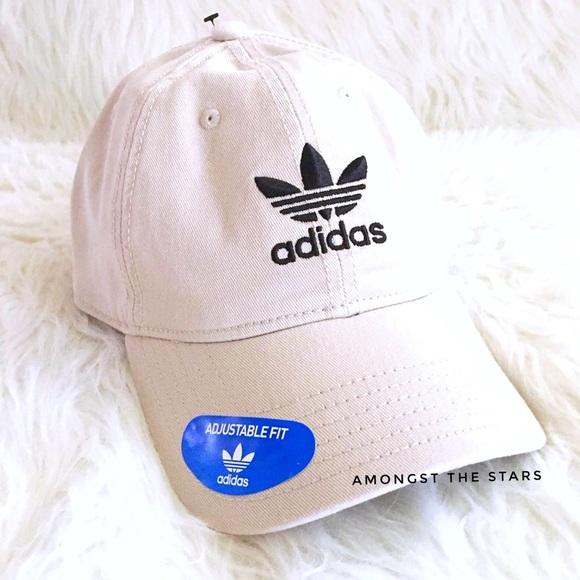 8764c7e91 adidas Trefoil Khaki Relaxed Strapback Dad Hat Cap NWT
